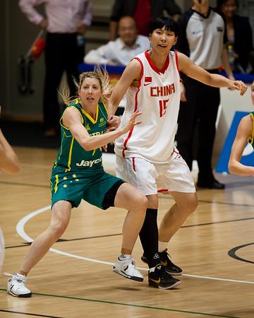 """Carly Wilson - Opals v China International Women's Basketball, Logan Metro Sports Centre, Crestmead, Queensland, Australia; 24 July 2011. Photos by Des Thureson:  <a href=""""http://disci.smugmug.com"""">http://disci.smugmug.com</a>."""