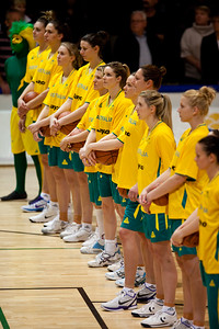 From far end: Cayla Francis, Marianna Tolo, Hanna Zavecz, Elyse Penaluna, Jessica Bibby, Stephanie Cumming, Tess Madgen, Suzy Batkovic, Carly Wilson, Abby Bishop, Kristen Veal - Opals v China International Women's Basketball, Logan Metro Sports Centre, Crestmead, Queensland, Australia; 24 July 2011. Photos by Des Thureson:  http://disci.smugmug.com.
