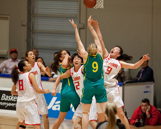 "Tess Madgen - Opals v China International Women's Basketball, Logan Metro Sports Centre, Crestmead, Queensland, Australia; 24 July 2011. Photos by Des Thureson:  <a href=""http://disci.smugmug.com"">http://disci.smugmug.com</a>."