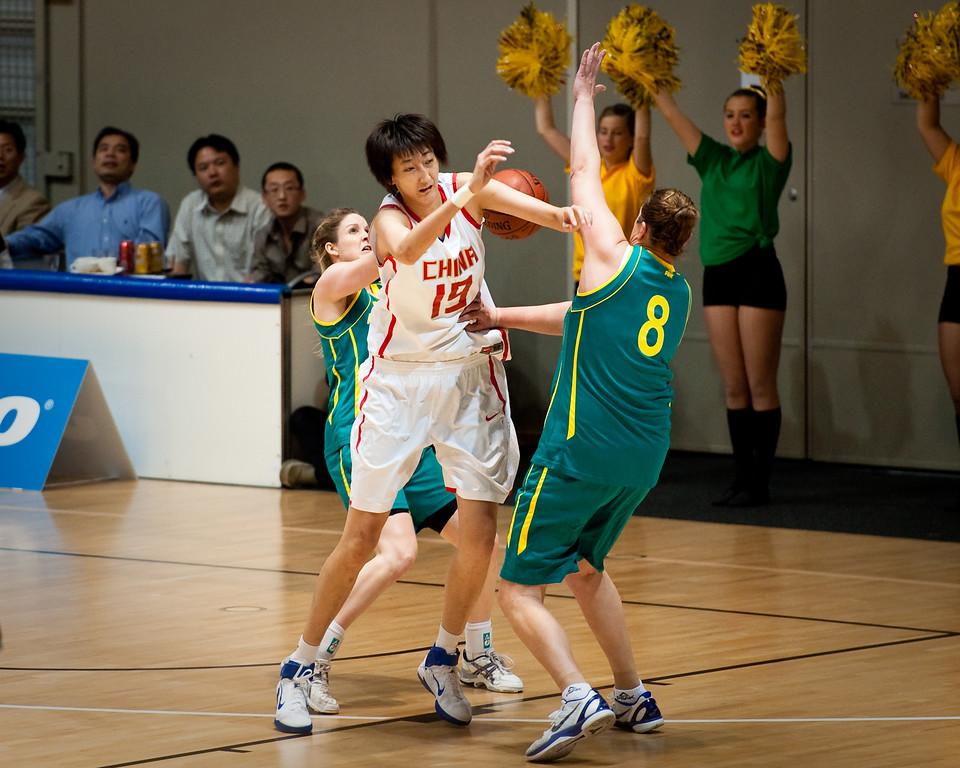 "Suzy Batkovic, Stephanie Cumming, Wei Wei - Opals v China International Women's Basketball, Logan Metro Sports Centre, Crestmead, Queensland, Australia; 24 July 2011. Photos by Des Thureson:  <a href=""http://disci.smugmug.com"">http://disci.smugmug.com</a>."