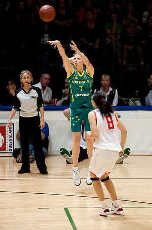 "Carly Wilson, Lijie Miao - Opals v China International Women's Basketball, Logan Metro Sports Centre, Crestmead, Queensland, Australia; 24 July 2011. Photos by Des Thureson:  <a href=""http://disci.smugmug.com"">http://disci.smugmug.com</a>."
