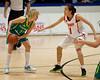 """Shuang Zhao, Jessica Bibby - Opals v China International Women's Basketball, Logan Metro Sports Centre, Crestmead, Queensland, Australia; 24 July 2011. Photos by Des Thureson:  <a href=""""http://disci.smugmug.com"""">http://disci.smugmug.com</a>."""