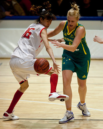 "Abby Bishop, Nuo Xu - Opals v China International Women's Basketball, Logan Metro Sports Centre, Crestmead, Queensland, Australia; 24 July 2011. Photos by Des Thureson:  <a href=""http://disci.smugmug.com"">http://disci.smugmug.com</a>."