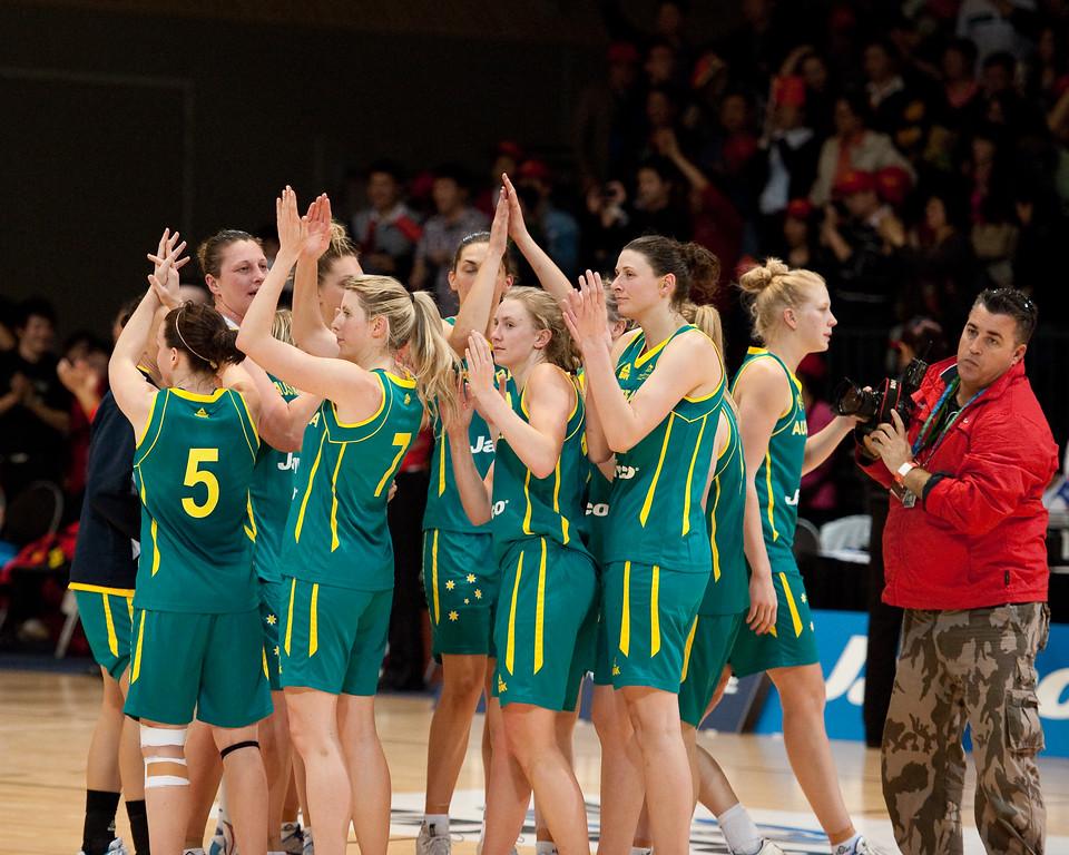 """Team members include Rachael Flanagan, Jessica Bibby, Suzy Batkovic, Tess Madgen, Marianna Tolo, Hanna Zavecz - Opals v China International Women's Basketball, Logan Metro Sports Centre, Crestmead, Queensland, Australia; 24 July 2011. Photos by Des Thureson:  <a href=""""http://disci.smugmug.com"""">http://disci.smugmug.com</a>."""
