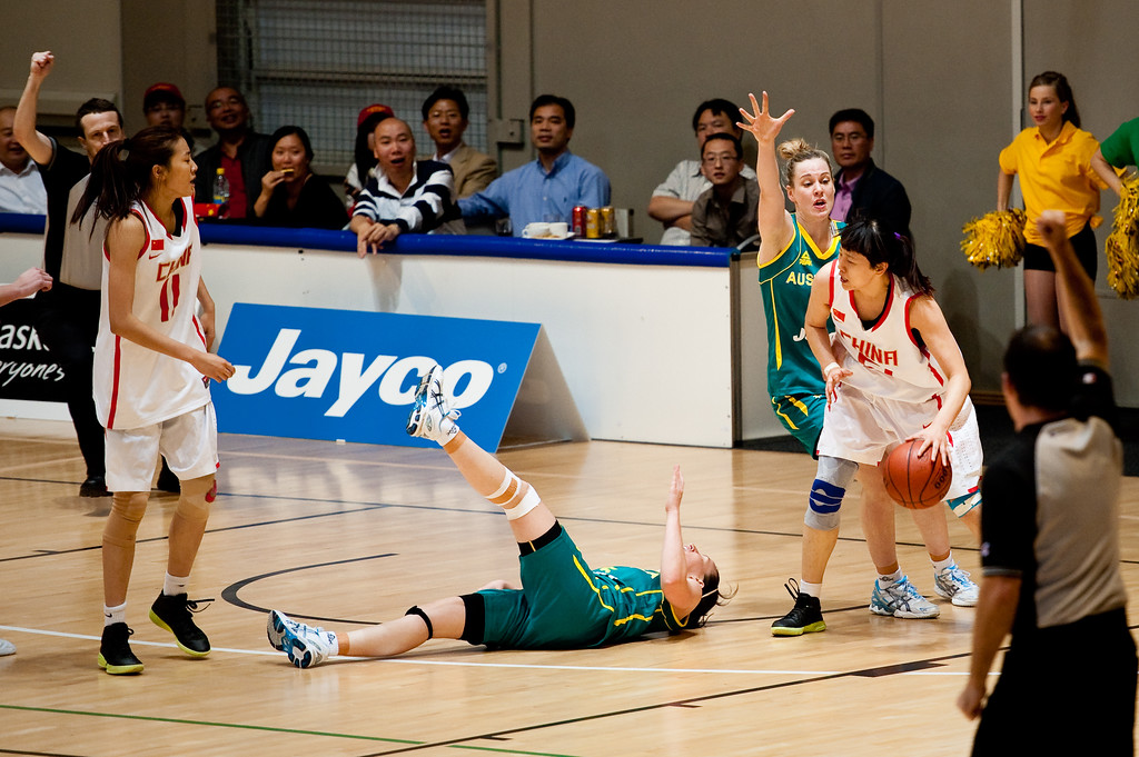 "Rachael Flanagan, Zengyu Ma - Opals v China International Women's Basketball, Logan Metro Sports Centre, Crestmead, Queensland, Australia; 24 July 2011. Photos by Des Thureson:  <a href=""http://disci.smugmug.com"">http://disci.smugmug.com</a>."