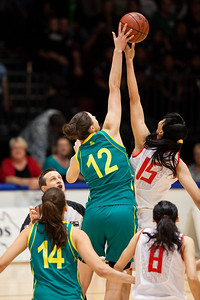 Jump Ball / Tip Off - Elyse Penaluna - Opals v China International Women's Basketball, Logan Metro Sports Centre, Crestmead, Queensland, Australia; 24 July 2011. Photos by Des Thureson:  http://disci.smugmug.com.