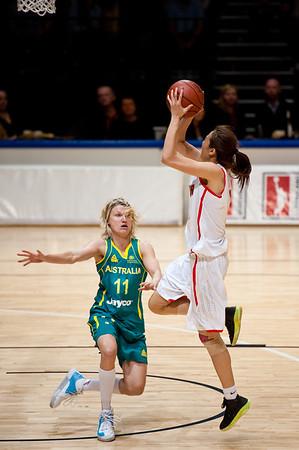 """Jessica Bibby - Opals v China International Women's Basketball, Logan Metro Sports Centre, Crestmead, Queensland, Australia; 24 July 2011. Photos by Des Thureson:  <a href=""""http://disci.smugmug.com"""">http://disci.smugmug.com</a>."""