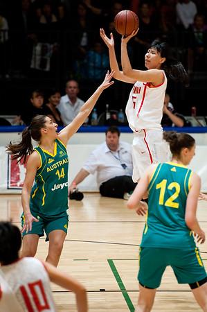 """Marianna Tolo - Opals v China International Women's Basketball, Logan Metro Sports Centre, Crestmead, Queensland, Australia; 24 July 2011. Photos by Des Thureson:  <a href=""""http://disci.smugmug.com"""">http://disci.smugmug.com</a>."""