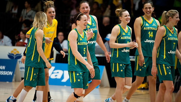 Team members include Jessica Bibby, Cayla Francis, Rachael Flanagan, Suzy Batkovic, Tess Madgen, Marianna Tolo, Carly Wilson and Hanna Zavecz (not seen) - Opals v China International Women's Basketball, Logan Metro Sports Centre, Crestmead, Queensland, Australia; 24 July 2011. Photos by Des Thureson: http://disci.smugmug.com.