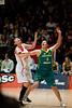 """Suzy Batkovic, Nan Chen - Opals v China International Women's Basketball, Logan Metro Sports Centre, Crestmead, Queensland, Australia; 24 July 2011. Photos by Des Thureson:  <a href=""""http://disci.smugmug.com"""">http://disci.smugmug.com</a>."""