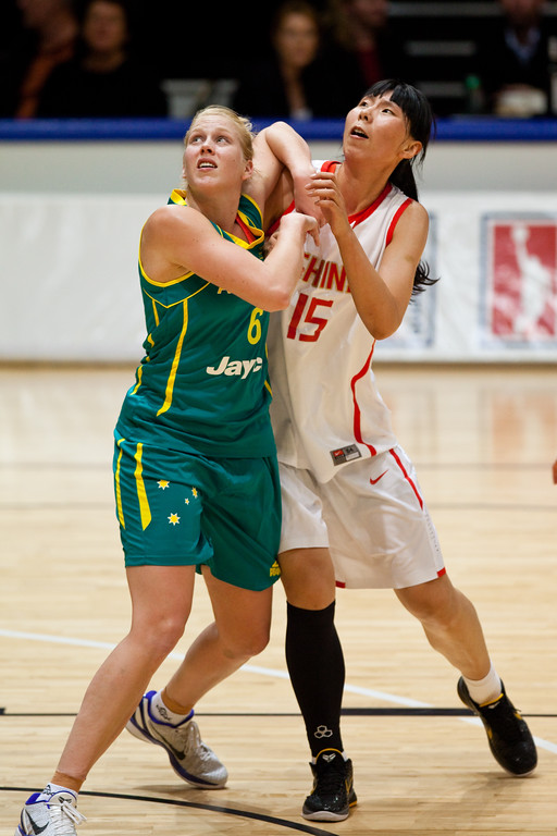 "Abby Bishop - Opals v China International Women's Basketball, Logan Metro Sports Centre, Crestmead, Queensland, Australia; 24 July 2011. Photos by Des Thureson:  <a href=""http://disci.smugmug.com"">http://disci.smugmug.com</a>."