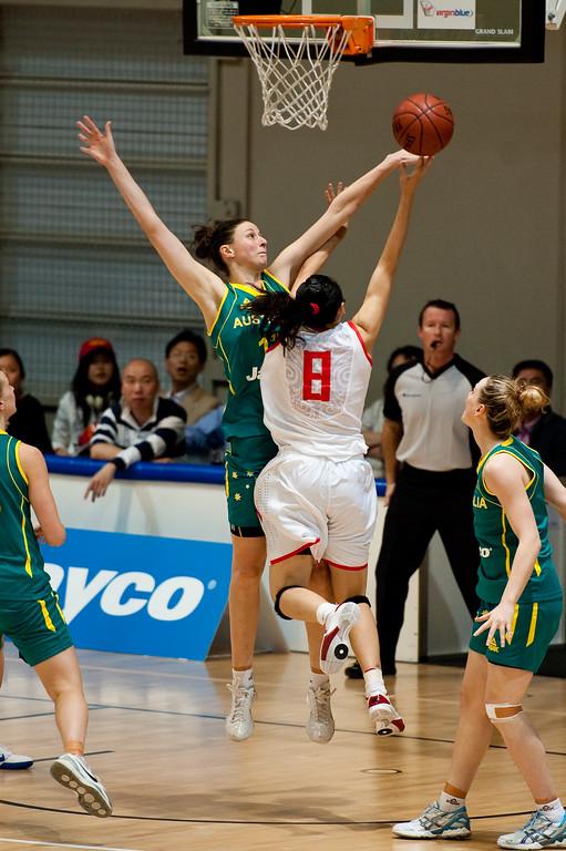"""Elyse Penaluna - Opals v China International Women's Basketball, Logan Metro Sports Centre, Crestmead, Queensland, Australia; 24 July 2011. Photos by Des Thureson:  <a href=""""http://disci.smugmug.com"""">http://disci.smugmug.com</a>."""