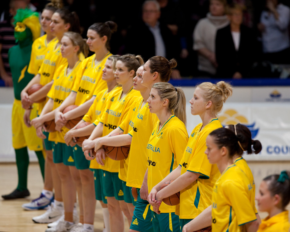 """In middle: Abby Bishop, Carly Wilson, Suzy Batkovic - Opals v China International Women's Basketball, Logan Metro Sports Centre, Crestmead, Queensland, Australia; 24 July 2011. Photos by Des Thureson:  <a href=""""http://disci.smugmug.com"""">http://disci.smugmug.com</a>."""