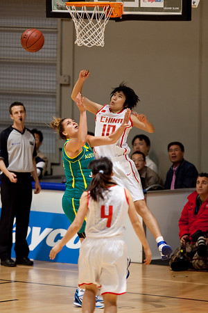 "Cayla Francis - Opals v China International Women's Basketball, Logan Metro Sports Centre, Crestmead, Queensland, Australia; 24 July 2011. Photos by Des Thureson:  <a href=""http://disci.smugmug.com"">http://disci.smugmug.com</a>."