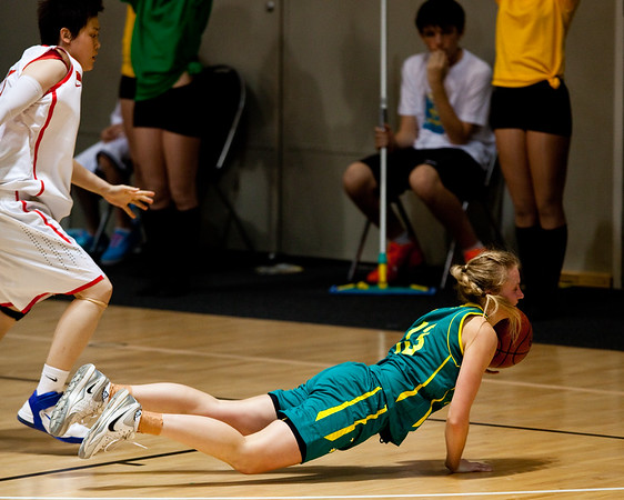 """Hanna Zavecz - Opals v China International Women's Basketball, Logan Metro Sports Centre, Crestmead, Queensland, Australia; 24 July 2011. Photos by Des Thureson:  <a href=""""http://disci.smugmug.com"""">http://disci.smugmug.com</a>."""