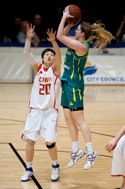 """Stephanie Cumming - Opals v China International Women's Basketball, Logan Metro Sports Centre, Crestmead, Queensland, Australia; 24 July 2011. Photos by Des Thureson:  <a href=""""http://disci.smugmug.com"""">http://disci.smugmug.com</a>."""
