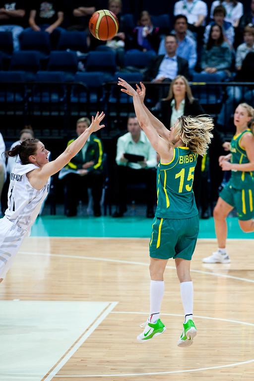 "Jessica Bibby, Kate McMeekan -Ruscoe - Australian Opals v New Zealand Tall Ferns FIBA Oceania Championship International Women's Basketball, Brisbane Entertainment Centre, Boondall, Brisbane, Queensland, Australia; 9 September 2011. Photos by Des Thureson:  <a href=""http://disci.smugmug.com"">http://disci.smugmug.com</a>"