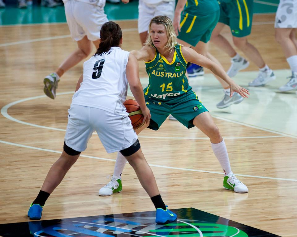 "Jessica Bibby - Australian Opals v New Zealand Tall Ferns FIBA Oceania Championship International Women's Basketball, Brisbane Entertainment Centre, Boondall, Brisbane, Queensland, Australia; 9 September 2011. Photos by Des Thureson:  <a href=""http://disci.smugmug.com"">http://disci.smugmug.com</a>"