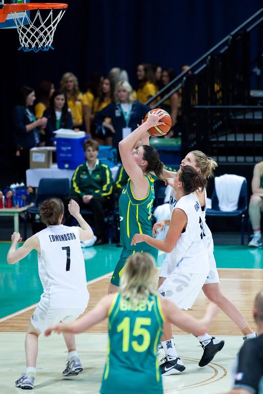 "Elyse Penaluna - Australian Opals v New Zealand Tall Ferns FIBA Oceania Championship International Women's Basketball, Brisbane Entertainment Centre, Boondall, Brisbane, Queensland, Australia; 9 September 2011. Photos by Des Thureson:  <a href=""http://disci.smugmug.com"">http://disci.smugmug.com</a>"