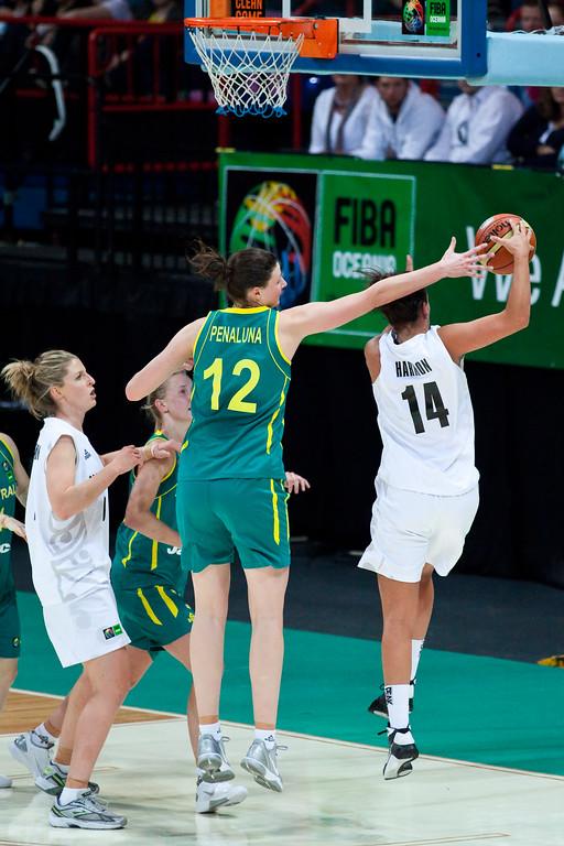 "Elyse Penaluna, Jillian Harmon - Australian Opals v New Zealand Tall Ferns FIBA Oceania Championship International Women's Basketball, Brisbane Entertainment Centre, Boondall, Brisbane, Queensland, Australia; 9 September 2011. Photos by Des Thureson:  <a href=""http://disci.smugmug.com"">http://disci.smugmug.com</a>"