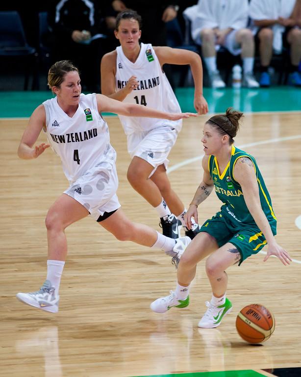 "Micaela Cocks, Natalie Hurst, Jillian Harmon - Australian Opals v New Zealand Tall Ferns FIBA Oceania Championship International Women's Basketball, Brisbane Entertainment Centre, Boondall, Brisbane, Queensland, Australia; 9 September 2011. Photos by Des Thureson:  <a href=""http://disci.smugmug.com"">http://disci.smugmug.com</a>"