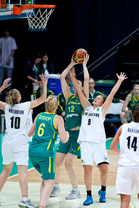 Elyse Penaluna, Suzie Bates - Australian Opals v New Zealand Tall Ferns FIBA Oceania Championship International Women's Basketball, Brisbane Entertainment Centre, Boondall, Brisbane, Queensland, Australia; 9 September 2011. Photos by Des Thureson:  http://disci.smugmug.com