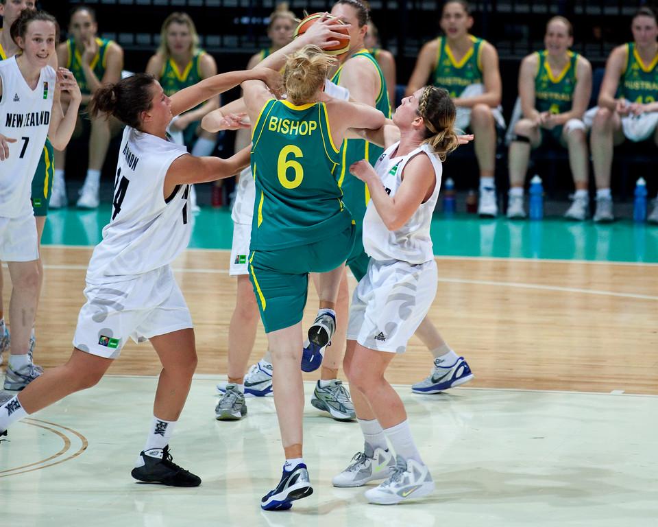 "Abby Bishop, Jillian Harmon, Micaela Cocks - Australian Opals v New Zealand Tall Ferns FIBA Oceania Championship International Women's Basketball, Brisbane Entertainment Centre, Boondall, Brisbane, Queensland, Australia; 9 September 2011. Photos by Des Thureson:  <a href=""http://disci.smugmug.com"">http://disci.smugmug.com</a>"