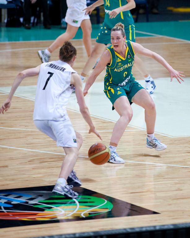 """Tess Madgen - Australian Opals v New Zealand Tall Ferns FIBA Oceania Championship International Women's Basketball, Brisbane Entertainment Centre, Boondall, Brisbane, Queensland, Australia; 9 September 2011. Photos by Des Thureson:  <a href=""""http://disci.smugmug.com"""">http://disci.smugmug.com</a>"""