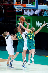 Hanna Zavecz, Jillian Harmon, Marianna Tolo - Australian Opals v New Zealand Tall Ferns FIBA Oceania Championship International Women's Basketball, Brisbane Entertainment Centre, Boondall, Brisbane, Queensland, Australia; 9 September 2011. Photos by Des Thureson:  http://disci.smugmug.com