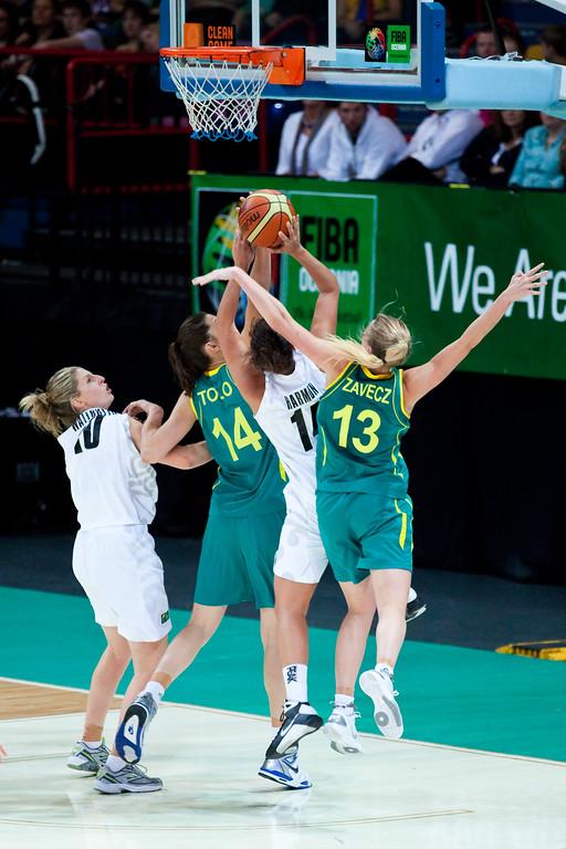 "Hanna Zavecz, Jillian Harmon, Marianna Tolo - Australian Opals v New Zealand Tall Ferns FIBA Oceania Championship International Women's Basketball, Brisbane Entertainment Centre, Boondall, Brisbane, Queensland, Australia; 9 September 2011. Photos by Des Thureson:  <a href=""http://disci.smugmug.com"">http://disci.smugmug.com</a>"