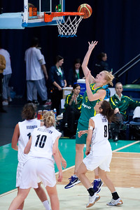 Abby Bishop, Natalie Taylor - Australian Opals v New Zealand Tall Ferns FIBA Oceania Championship International Women's Basketball, Brisbane Entertainment Centre, Boondall, Brisbane, Queensland, Australia; 9 September 2011. Photos by Des Thureson:  http://disci.smugmug.com
