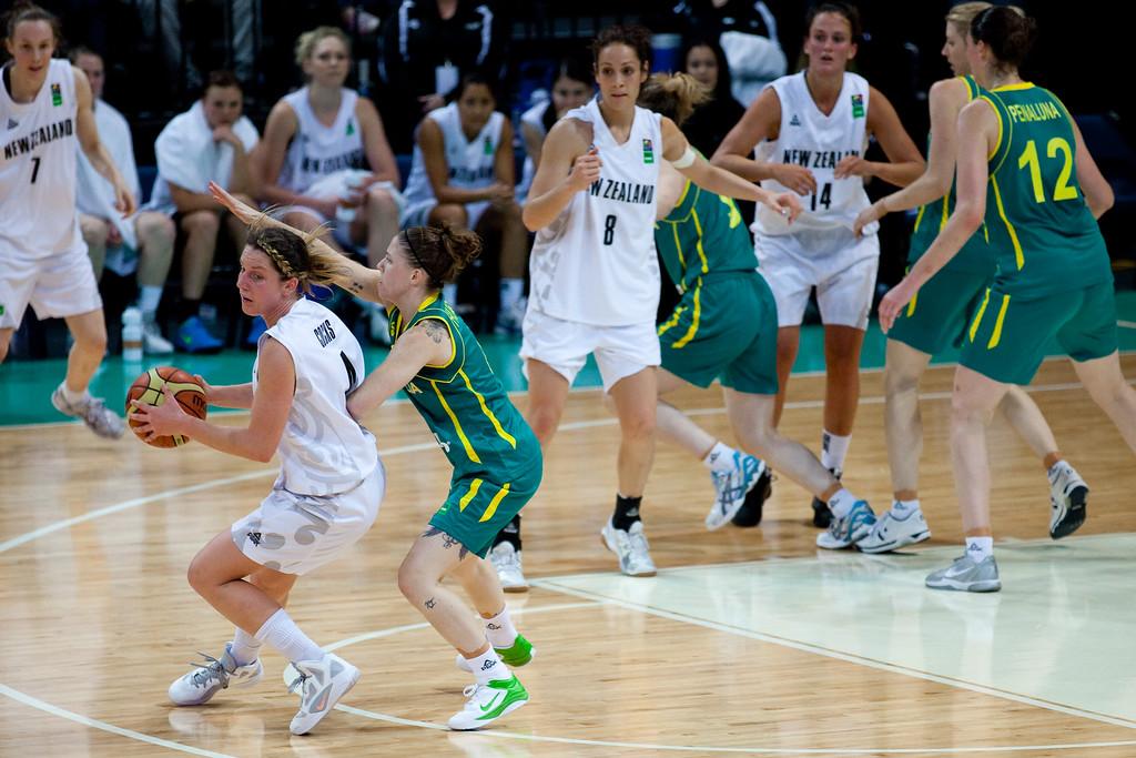 "Micaela Cocks, Natalie Hurst - Australian Opals v New Zealand Tall Ferns FIBA Oceania Championship International Women's Basketball, Brisbane Entertainment Centre, Boondall, Brisbane, Queensland, Australia; 9 September 2011. Photos by Des Thureson:  <a href=""http://disci.smugmug.com"">http://disci.smugmug.com</a>"