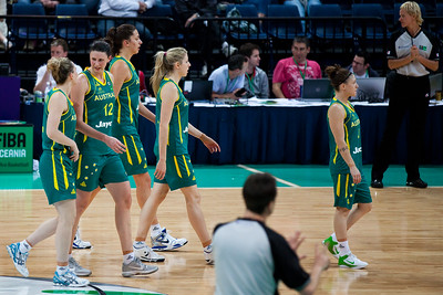 Tess Madgen, Elyse Penaluna, Marianna Tolo, Carly Wilson, Natalie Hurst - Australian Opals v New Zealand Tall Ferns FIBA Oceania Championship International Women's Basketball, Brisbane Entertainment Centre, Boondall, Brisbane, Queensland, Australia; 9 September 2011. Photos by Des Thureson:  http://disci.smugmug.com