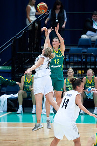 Elyse Penaluna,  Lisa Wallbutton - Australian Opals v New Zealand Tall Ferns FIBA Oceania Championship International Women's Basketball, Brisbane Entertainment Centre, Boondall, Brisbane, Queensland, Australia; 9 September 2011. Photos by Des Thureson:  http://disci.smugmug.com