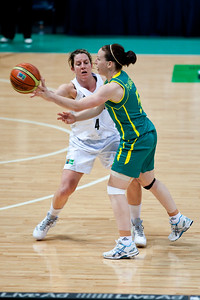Rachael Flanagan, Micaela Cocks - Australian Opals v New Zealand Tall Ferns FIBA Oceania Championship International Women's Basketball, Brisbane Entertainment Centre, Boondall, Brisbane, Queensland, Australia; 9 September 2011. Photos by Des Thureson:  http://disci.smugmug.com