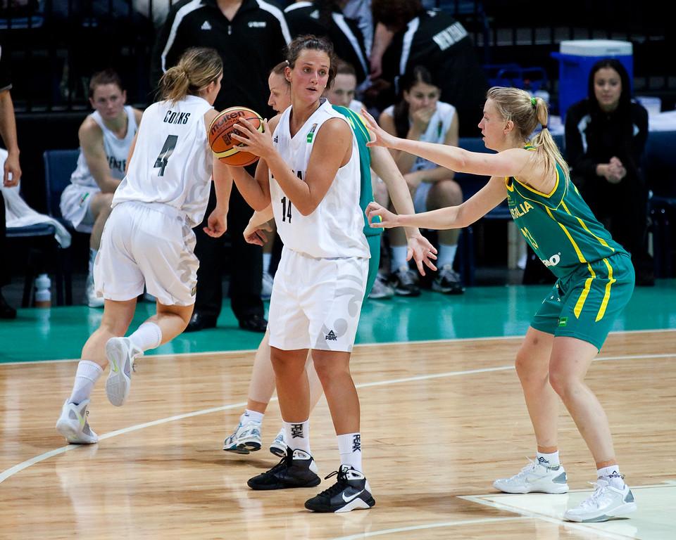 "Jillian Harmon, Hanna Zavecz - Australian Opals v New Zealand Tall Ferns FIBA Oceania Championship International Women's Basketball, Brisbane Entertainment Centre, Boondall, Brisbane, Queensland, Australia; 9 September 2011. Photos by Des Thureson:  <a href=""http://disci.smugmug.com"">http://disci.smugmug.com</a>"