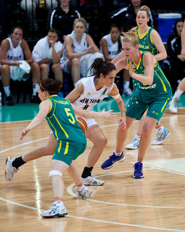 "Abby Bishop, Natalie Taylor - Australian Opals v New Zealand Tall Ferns FIBA Oceania Championship International Women's Basketball, Brisbane Entertainment Centre, Boondall, Brisbane, Queensland, Australia; 9 September 2011. Photos by Des Thureson:  <a href=""http://disci.smugmug.com"">http://disci.smugmug.com</a>"