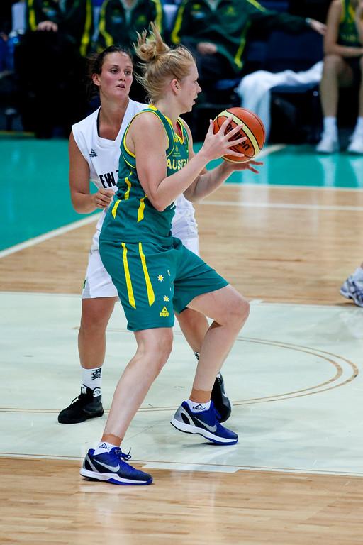 "Abby Bishop, Jillian Harmon - Australian Opals v New Zealand Tall Ferns FIBA Oceania Championship International Women's Basketball, Brisbane Entertainment Centre, Boondall, Brisbane, Queensland, Australia; 9 September 2011. Photos by Des Thureson:  <a href=""http://disci.smugmug.com"">http://disci.smugmug.com</a>"