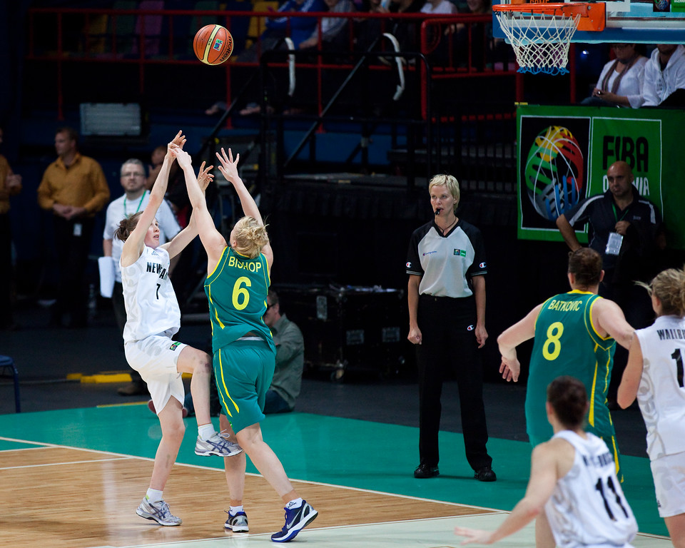 "Abby Bishop, Antonia  Edmondson - Australian Opals v New Zealand Tall Ferns FIBA Oceania Championship International Women's Basketball, Brisbane Entertainment Centre, Boondall, Brisbane, Queensland, Australia; 9 September 2011. Photos by Des Thureson:  <a href=""http://disci.smugmug.com"">http://disci.smugmug.com</a>"