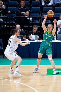 Rachael Flanagan, Kate McMeekan -Ruscoe - Australian Opals v New Zealand Tall Ferns FIBA Oceania Championship International Women's Basketball, Brisbane Entertainment Centre, Boondall, Brisbane, Queensland, Australia; 9 September 2011. Photos by Des Thureson:  http://disci.smugmug.com