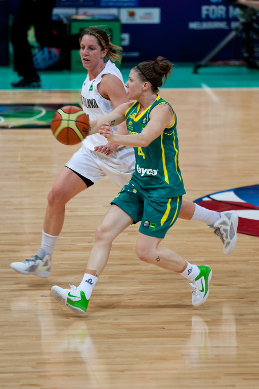 "Natalie Hurst, Micaela Cocks - Australian Opals v New Zealand Tall Ferns FIBA Oceania Championship International Women's Basketball, Brisbane Entertainment Centre, Boondall, Brisbane, Queensland, Australia; 9 September 2011. Photos by Des Thureson:  <a href=""http://disci.smugmug.com"">http://disci.smugmug.com</a>"