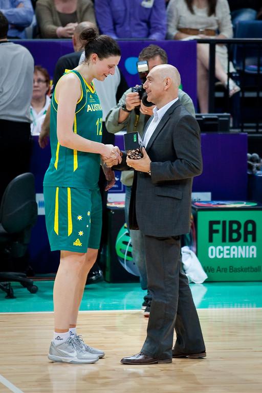 "MVP Elyse Penaluna - Australian Opals v New Zealand Tall Ferns FIBA Oceania Championship International Women's Basketball, Brisbane Entertainment Centre, Boondall, Brisbane, Queensland, Australia; 9 September 2011. Photos by Des Thureson:  <a href=""http://disci.smugmug.com"">http://disci.smugmug.com</a>"