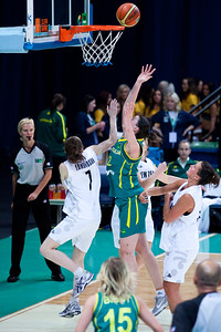 Elyse Penaluna, Antonia Edmondson - Australian Opals v New Zealand Tall Ferns FIBA Oceania Championship International Women's Basketball, Brisbane Entertainment Centre, Boondall, Brisbane, Queensland, Australia; 9 September 2011. Photos by Des Thureson:  http://disci.smugmug.com