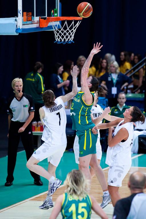 "Elyse Penaluna, Antonia Edmondson - Australian Opals v New Zealand Tall Ferns FIBA Oceania Championship International Women's Basketball, Brisbane Entertainment Centre, Boondall, Brisbane, Queensland, Australia; 9 September 2011. Photos by Des Thureson:  <a href=""http://disci.smugmug.com"">http://disci.smugmug.com</a>"