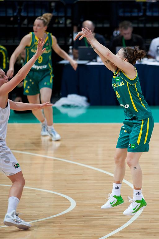 """Natalie Hurst - Australian Opals v New Zealand Tall Ferns FIBA Oceania Championship International Women's Basketball, Brisbane Entertainment Centre, Boondall, Brisbane, Queensland, Australia; 9 September 2011. Photos by Des Thureson:  <a href=""""http://disci.smugmug.com"""">http://disci.smugmug.com</a>"""