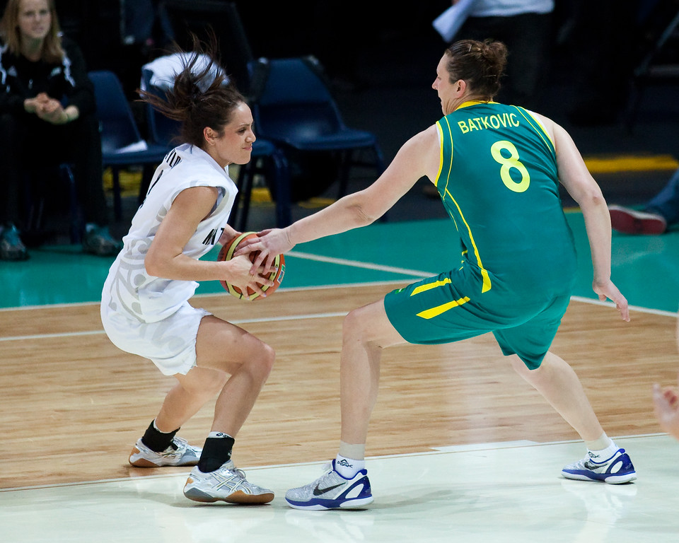 "Suzy Batkovic, Natalie Taylor - Australian Opals v New Zealand Tall Ferns FIBA Oceania Championship International Women's Basketball, Brisbane Entertainment Centre, Boondall, Brisbane, Queensland, Australia; 9 September 2011. Photos by Des Thureson:  <a href=""http://disci.smugmug.com"">http://disci.smugmug.com</a>"