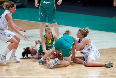Tess Madgen, Abby Bishop, Lisa Wallbutton, Natalie Taylor -  Australian Opals v New Zealand Tall Ferns FIBA Oceania Championship International Women's Basketball, Brisbane Entertainment Centre, Boondall, Brisbane, Queensland, Australia; 9 September 2011. Photos by Des Thureson:  http://disci.smugmug.com