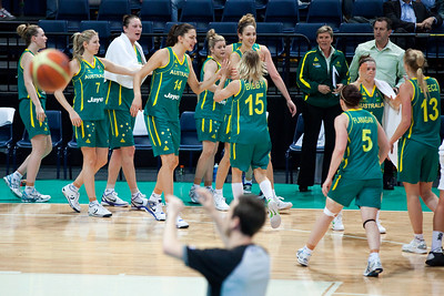 Carly Wilson, Marianna Tolo, Laura Summerton Hodges, Jessica Bibby - Australian Opals v New Zealand Tall Ferns FIBA Oceania Championship International Women's Basketball, Brisbane Entertainment Centre, Boondall, Brisbane, Queensland, Australia; 9 September 2011. Photos by Des Thureson:  http://disci.smugmug.com