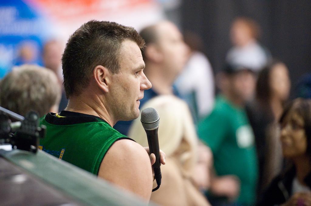 "Scott McGregor thanks the Rollers team and supporters - QBL Quarter Final Basketball: Gold Coast Rollers v Brisbane Capitals; Carrara, Gold Coast, Queensland, Australia. Photos by Des Thureson:  <a href=""http://disci.smugmug.com"">http://disci.smugmug.com</a>."