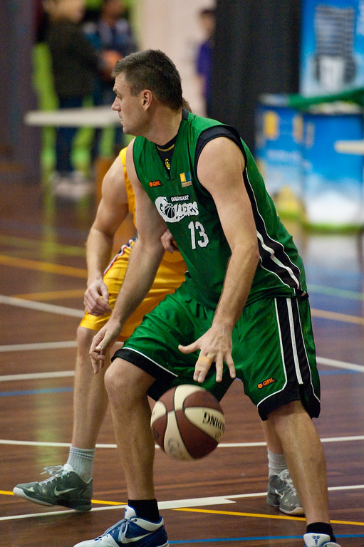 """Tom Garlepp, Scott McGregor - QBL Quarter Final Basketball: Gold Coast Rollers v Brisbane Capitals; Carrara, Gold Coast, Queensland, Australia. Photos by Des Thureson:  <a href=""""http://disci.smugmug.com"""">http://disci.smugmug.com</a>."""